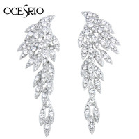 Fashion Silver Long Earrings with Stones Large Hanging Crystal Big Earrings Rhinestone Korean Fashion Jewelry Earrings ers-h38