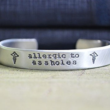 Allergic to Assholes Medical Alert Bracelet