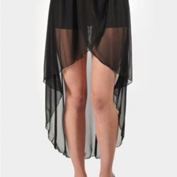 Black Hi-Low Skirt with Sheer Overlay
