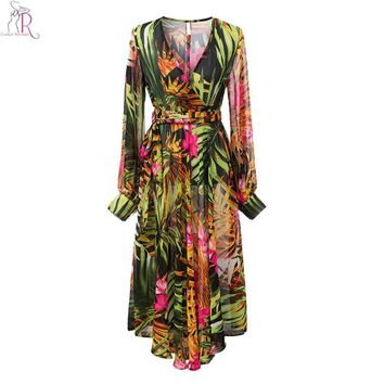 Green Yellow Floral Prints Chiffon Maxi Skater Dress Long Sleeve V Neck  Casual Party Beachwear Women Autumn Fall