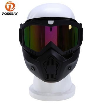 POSSBAY Face Helmet Mask Detachable Goggles Scooter Jet Helmets Goggles Mask Ski Skate Motocross Goggles Motorcycle Glasses ATV