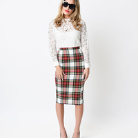 Hell Bunny 1950s Style Red Stewart Tartan Jodie Pencil Skirt