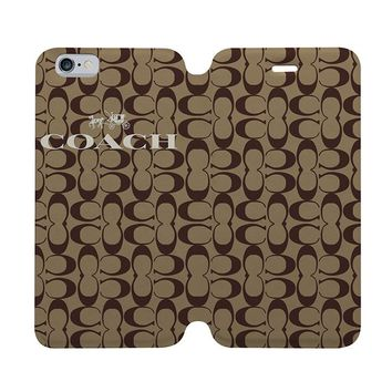 LOGO COACH NEW YORK Wallet Case for iPhone 4/4S 5/5S/SE 5C 6/6S Plus Samsung Galaxy S4 S5 S6 Edge Note 3 4 5