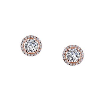 Lafonn Rose Gold Plated Sterling Silver Round Halo Simulated Diamond Stud Earrings