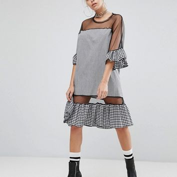 The Ragged Priest Oversized Mesh Dress With Gingham Trims at asos.com