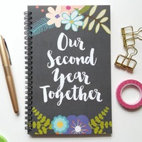 Writing journal, spiral notebook, bullet journal, floral, sketchbook, blank lined or grid paper, anniversary gift - Our second year together