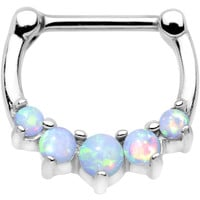 "16 Gauge 5/16"" White Synthetic Opal Steel Bar Simple Septum Clicker"