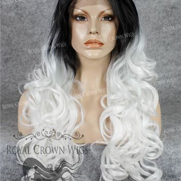 """26"""" Heat Safe Synthetic Lace Front in Curly Texture """"Calypso"""" in Rooted White"""