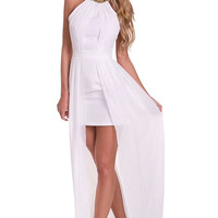 White Sleeveless Halter Open Front Maxi Dress