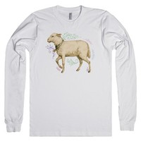 Floral Sheep-Unisex White T-Shirt