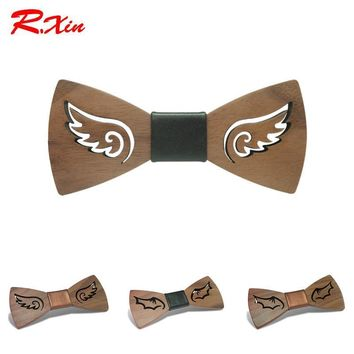 R.XIN Brand New Design Fashion Handmade Wood Angel wings Wedding Bowtie Gravata Ties For Men DIY
