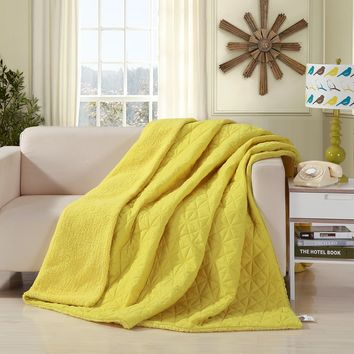 DaDa Bedding Tuscan Sun Solid Yellow Reversible Soft Stitched with Sherpa Backside Quilted Ultra Sonic Throw Blanket (BJ0107)