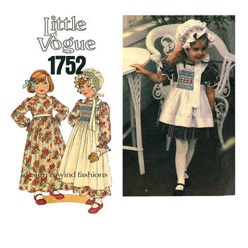 GIRLS DRESS & PINAFORE Pattern Smocked Bonnet and Smocked Childs Pinafore Toddler Dress Vogue 1752 UNCuT 1970s Girls Sewing Patterns Size 3