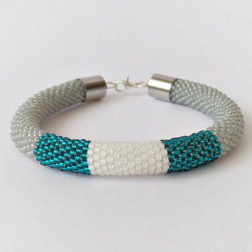 Bead crochet bracelet, beadwork bracelet, beaded bangle, bead crochet rope, color block cuff bracelet, minimalist bracelet, modern jewelry
