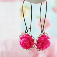 Bright Pink Rose Flower Earrings on Luulla