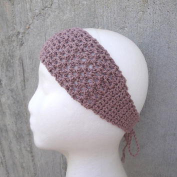 Crochet Tie Back Headband, Lacy, Bandana, Cotton/Silk, Boho Gypsy Fashion