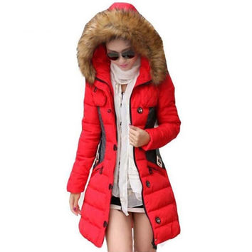 2017 Winter Jacket Women Parka Fur Collar Thickening Cotton Padded Winter Coat Manteau Femme 1PC