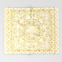 Orient Espresso Pattern Mandala Gold Throw Blanket by Octavia Soldani | Society6