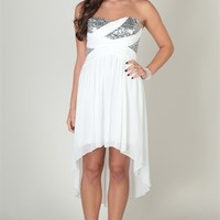 Strapless High Low Chiffon Dress with Criss Cross Stone Trim