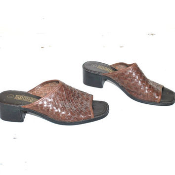size7 brown woven leather MULES vintage 80s 90s boho CHUNKY heel platform slip on sandals