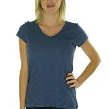 Maison Jules V-Neck Pocket Solid Tee Blue Indigo XX-Large