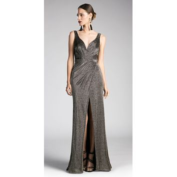 Ruched V-Neck Evening Gown with Front Slit Black-Gold