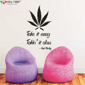 "Bob Marley Quotes Wall Decals Vinyl Wall Sticker Home Decor - Study, Bedroom Wall Art Mural "" Take it easy ""  Size 55 x 100 cm"