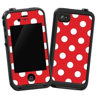 White Polka Dot on Red Skin  for the iPhone 4/4S Lifeproof Case by skinzy.com