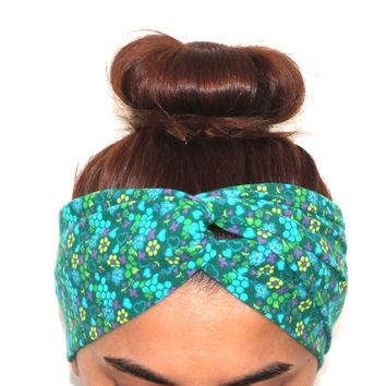 women's green flowers hairband, headbands,twist headbands,turban,boho headbands