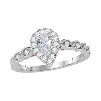 14kt Two-tone White Rose Gold Women's Pear Diamond Teardrop Bellina Bridal Wedding Engagement Ring 3/4 Cttw - FREE Shipping (US/CAN)