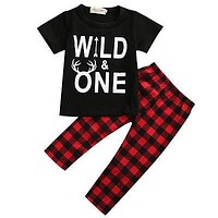 Newborn Baby Boy Clothes Short Sleeve T-shirt Top + Red Plaid Pant Trouser Outfit Toddler Kids Clothing Set