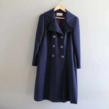 HOLT RENFREW high-end royal navy blue wool double breasted wool long coat, trench wool coat, true vintage, 80s, size s-m