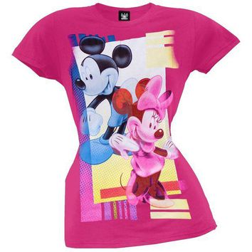 ICIKIS3 Mickey Mouse - Pop Art Couple Juniors T-Shirt