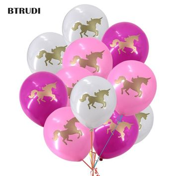 Unicorn party print balloons 10inch 30/50pcs Theme party baby shower Happy birthday party decorated  balloon Two unicorn prints