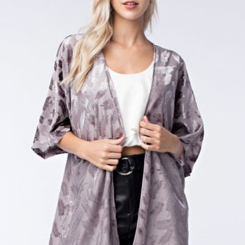 Women's Velvet Burnout Kimono with 3/4 Sleeves