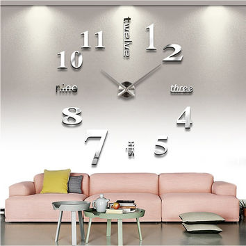 Quartz clocks fashion watches 3d real big wall clock rushed mirror sticker
