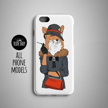 Foxy Lady iPhone 8 Plus Case iPhone X Case iPhone 8 Case iPhone 6S Case iPhone 7 Case iPhone 7 Plus Case Phone SE Hipster Animal Painting
