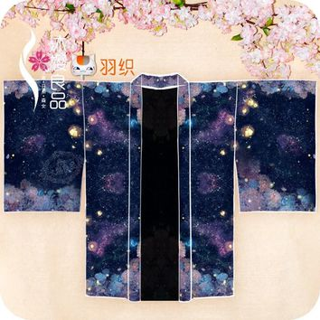 """""""Lost in Hydrangea Dream"""" Women's Japanese Kimono / Yukata Style Embroidery Trench Cool Loose Outwear Stary Night Printed"""