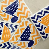 Set of 4, St. Louis blues inspired,  Ceramic Coasters, housewarming gift, cardinals, st louis, wedding, blues, shower, man cave, cadinal nat