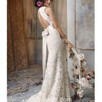 [US$ 192.99] Sexy Ivory Sheath/Column V-neck Backless Lace Wedding Dress for hall