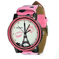 WoMaGe , Paris, Eiffel Tower & Lips on Rhinestone Watch with Pink Leather Bands