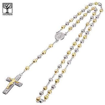 "Jewelry Kay style 6 mm Bead Rosary G / S Plated Guadalupe & Jesus Cross 28"" Necklace HR 600 SG"