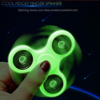 Mini Luminous Anti Stress Tri-spinner Wheel Hand spinner Autism Vent Fidget spinner
