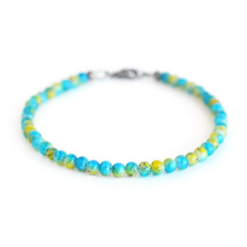 Turquoise yellow beaded bracelet, Czech glass bead bracelet, bohemian bracelet, minimal jewelry, yellow blue bracelet, boho jewelry, 7 1/2""