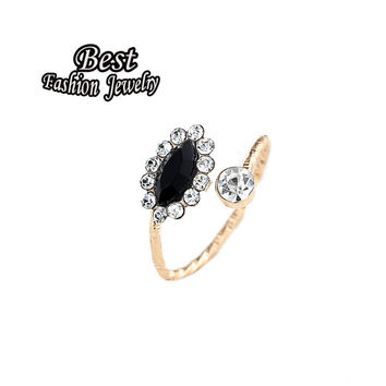 New Coming Brilliant Ring For Female Delicate Black Simulated Jade Inlayed Open Adjustable Ring Girls Accessory