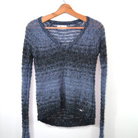 Vintage Sweater Sparkle Sweater 90s Pullover Sweater Blue Sweater Women's Sweater Striped Sweater Long Sleeve Sweater