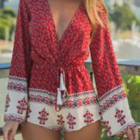 Wine Red Ethnic Print Long Sleeve Drawstring Romper