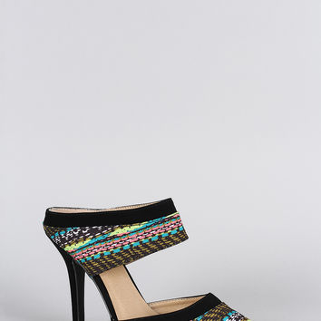 Qupid Abstract Print Pointy Toe Mule Pump