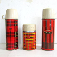 set of 3 Retro red plaid / tartan THERMOS containers for Your Lunch Box / coffee mugs or soup carriers