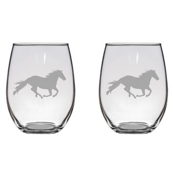 Galloping Horse Engraved Glasses, Rider, Jockey, Equine, Gift Free Personalization